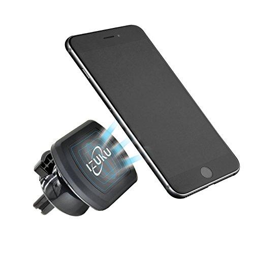 Support Téléphone Voiture Universel Magnétique IZUKU [Garantie à vie] Support Voiture avec la Rotation à 360 Degrés pour iPhone 8 8 Plus iPhone 7 7 Plus 6s 6s Plus 6 6 Plus iPhone SE 5, Samsung Galaxy S7 S6 J5 A5, Wiko, Huawei et les autres smartphones, Appareils GPS. (Noir)