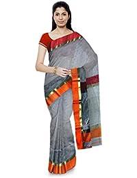 Mujaffara Ansari Maheshwar Cotton and Silk Saree (Grey)