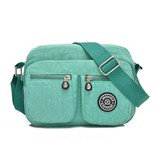 Tiny Chou - Borsa Messenger a tracolla, leggera e impermeabile, realizzata in nylon, con tasche Verde (verde)