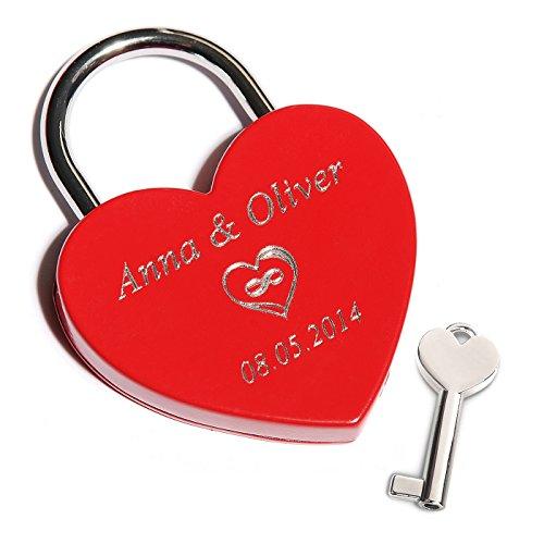 Preisvergleich Produktbild Rotes Herz-Schloss mit Gravur auf der Vorderseite / Liebesschloss mit persönlichen Text gravieren