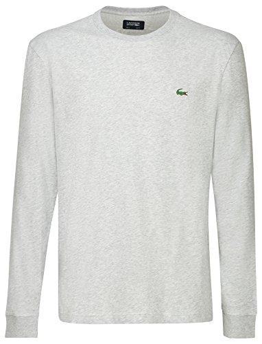 Lacoste TH0123 Sportliches Herren Langarmshirt, T-Shirt Langarm, Rundhals, für Freizeit und Sport, 65% Baumwolle, 35% Polyester Grau (Silver Chine CCA), EU 4