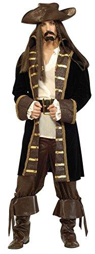 Deluxe hoher See Karibik Pirat Captain Jack Stil Fancy Kleid (Hoch Kostüme Pirat Seas)