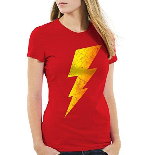 CottonCloud Sheldon Lightning Bolt Damen T-Shirt, Farbe:Rot;Größe:L