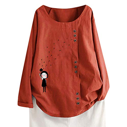 ❤️ AG&T ❤️ Cartoon Mädchen drucken,Übergröße,Plus Size Langarm O-Ausschnitt,T-Shirt mit Blusendruck,Geeignet für alle Damen und Mädchen,Bluse Top T-Shirt - Lässige Motorrad-shirts