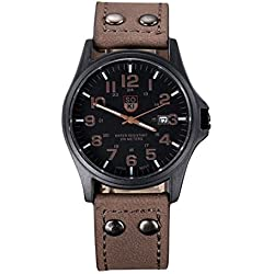 Familizo Vintage Classic Men's Waterproof Date Display Leather Strap Quartz Army Watches Brown