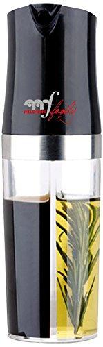 Melchioni 118700061 118700061-Dispensador de Aceite y vinagre, Funcionamiento a Base de presión Manual, Color Negro y Transparente