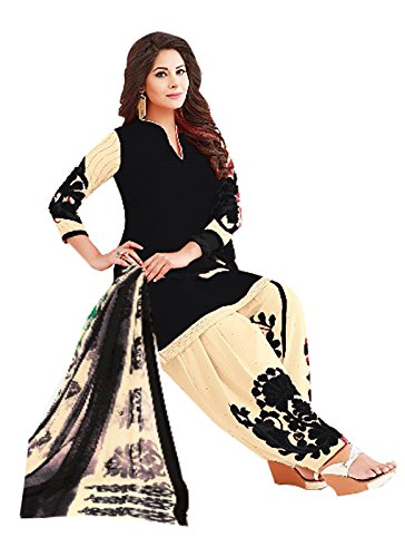 Ishin Synthetic Black & Beige Printed Unstitched Salwar Suit Dress Material (Anarkali/Patiyala)...