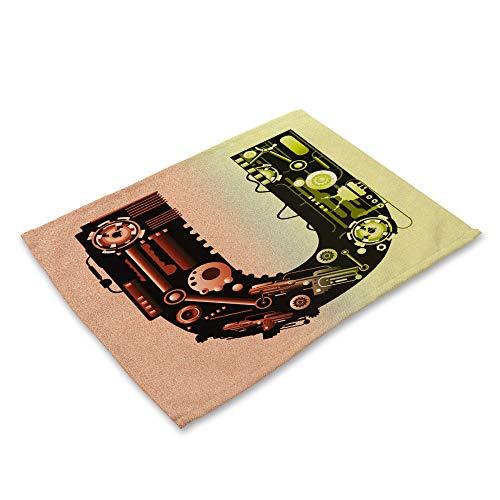 ZCHPDD Machines Créatives 26 Lettres d'impression Coton Lin Isolation Western Food Mat R 42 * 32Cm * 8Pcs
