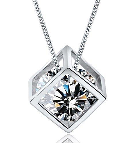 Wonvin plata de ley 925 colgante collar de cristal La ventana del amor con cadena de 18 pulgadas para las mujeres