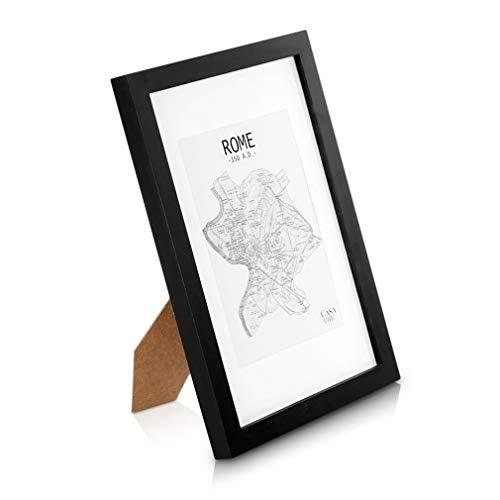 - Echtholz Bilderrahmen A4 - Schwarz - 21 x 29,7 cm - mit Passepartout für ein 15x20 cm Bild - bruchfestes Sicherheitsglas- Ideal für Zertifikate und Urkunden - Rahmenbreite 2 cm ()