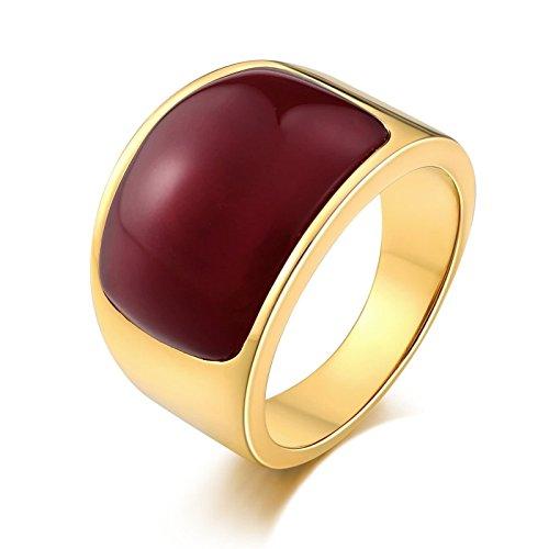 ng Herren Rot Opal Breite 15 MM Partnerring Gold Ring Größe 57 (18.1) (Einfach Assassins Creed Kostüm)