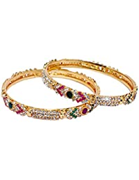 Micro Gold Plated Stone Studded Bangles /Kada With Ruby, Emerald And White Stones For Wedding Festival For Girls...