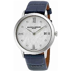 Baume et Mercier 10299 - Reloj para mujer con esfera de diamante de nácar clásica