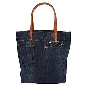 Geräumige Handtasche Damen, Shopper Damen groß, Schultertasche Damen dunkelblau, Arbeitstasche Damen, Businesstasche Damen, Denim Tote bag women, Einkaufstasche nachhaltig
