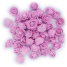 LinTimes 50pcs 3cm Artificiales Rosa Flor Decoración de Hogar Fiesta de Bodas Novia Pelo decorativo, rosa
