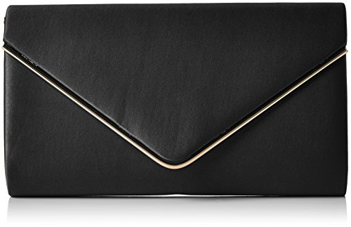 Swanky Swans Damen Kim Metallic Envelope Bag Clutch, Schwarz (Black), 5x12.5x21.9 cm (Bag Clutch)
