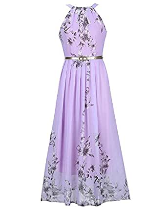 damen halter ansatz mit blumendruck kleid strand partykleid kleider purple 2xl. Black Bedroom Furniture Sets. Home Design Ideas