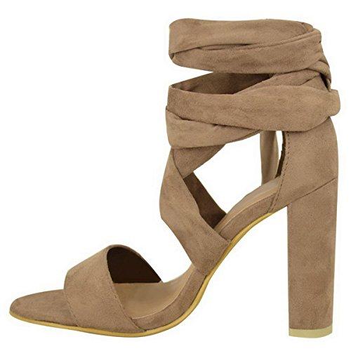 Nouveau Haut Talon Féminin Épais Open Toe Ouvert Barely There Avec Des Lacets Tie Jusqu'à La Jambe Châle Sandals Party Shoes Numéros Moka Brown Faux Suede