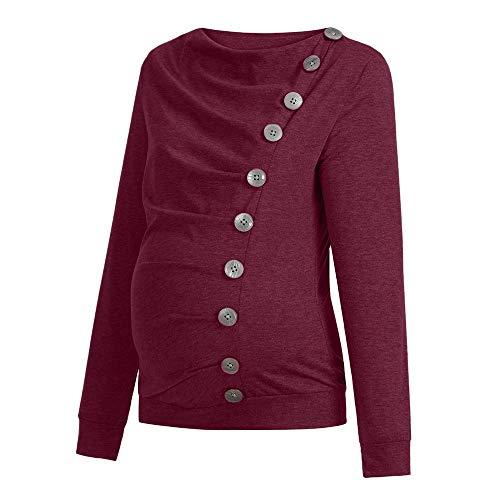 Cowl Cowl Neck Poncho (Amphia - T-Shirt der schwangeren Frauen ShirtFrauen Krankenpflege Mutterschaft Langarm Cowl Neck Buttons Tunika Top T-Shirt Kleidung - (Wein,S))