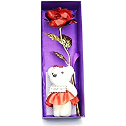 Lilone Valentine Special Gift Cute White Teddy and Red Gold Rose for Partner, Girlfriend, Boyfriend, Wife and Husband