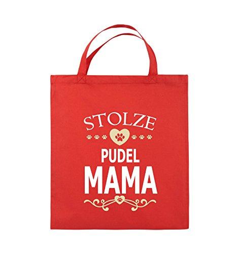 Comedy Bags - Stolze Pudel Mama - Herz - Jutebeutel - Kurze Henkel - 38x42cm - Farbe: Rot/Weiss-Beige -