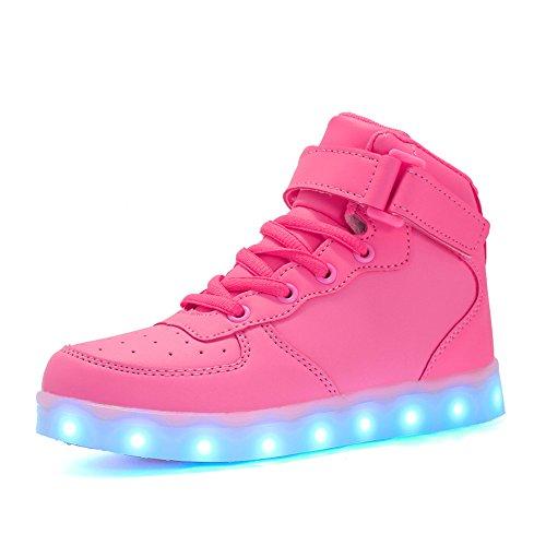 Voovix Kinder High-top LED Licht Blinkt Sneaker mit Fernbedienung-USB Aufladen Led Schuhe für Jungen und Mädchen (Rosa, EU36/CN36)