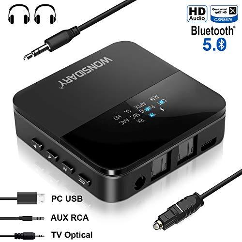 Trasmettitore e Ricevitore Bluetooth 5.0 , Wonsidary Senza Fili Bluetooth Audio Adattatore, Ricevitore Bluetooth per auto stereo Home speaker/paio con 2 Phone, Ottico Toslink / SPDIF e 3,5 mm AUX