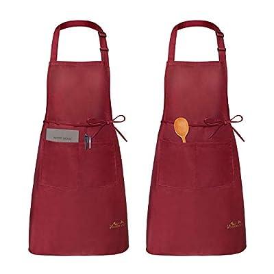 Viedouce 2 Pack Schürze,Wasserdicht Kochschürze mit Taschen,Verstellbarem Küchenschürze,Grillschürze,latzschürze,Küchenschürze für Frauen Männer Chef-Belastbar & Einfach zu Reinigen