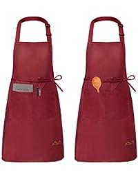 Viedouce 2 Piezas Delantales Impermeables Ajustables del Cocinero con Bolsillo Cocina Delantale de Cocina para…