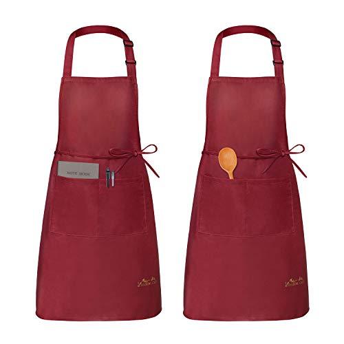 Viedouce 2 Pack Schürze,Wasserdicht Kochschürze mit Taschen,Verstellbarem Küchenschürze,Grillschürze,latzschürze,Küchenschürze für Frauen Männer Chef-Belastbar & Einfach zu Reinigen-Rot (Rot)