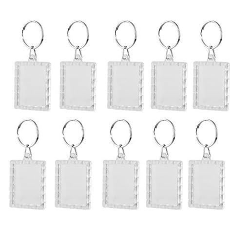 Lot de 10Pcs Porte-clés Anneau Brisé DIY Cadre Photo Vierge Rectangle 3.5*4.3cm - Plastica Trasparente Inserti