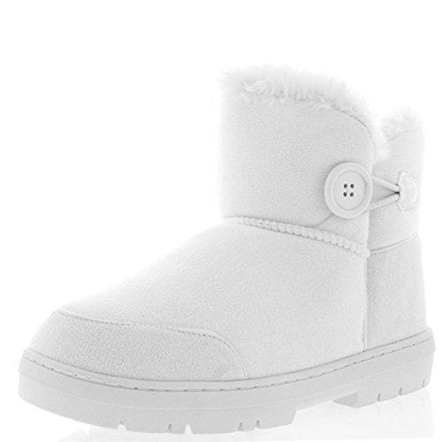Holly Damen Button Mini Pelz Gefüttert Warm Schuhe Winter Wohnung Schnee Regen Stiefel - Weiß - WHI39 AEA0302 (Winter Weiße Boots)