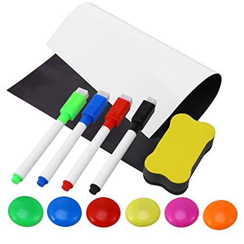 trocken abwischbare Whiteboard-Blätter für Kühlschrank inklusive Kühlschrank-Magnet-Radiergummi (4 Stifte, 6 Magnete, 1 Radiergummi, zufällige Farbe) ()
