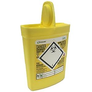 Sharpsafe Behälter für medizinische Abfälle, gelb, 0,3l, für Spritzen, Nadeln, klinische Abfälle, gekennzeichnet, Abfallsammler für scharfe und spitze Gegenstände, Mülleimer
