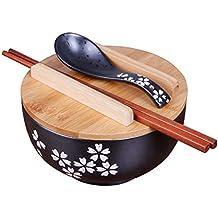 MYYDD Japonés de Estilo Negro de cerámica de Fideos instantáneos Bowl con Tapa Cuchara de Palillos