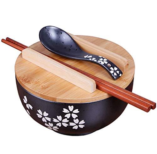 MYYDD Japonés de Estilo Negro de cerámica de Fideos instantáneos Bowl con Tapa Cuchara de Palillos, tazón de cerámica, Plato de tazón Retro Sopa Bowl tazón de arroz, Multi-Purpose Bowl Redondo