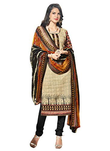 Fabfirki women\'s beige cotton printed partywear and wedding dress material