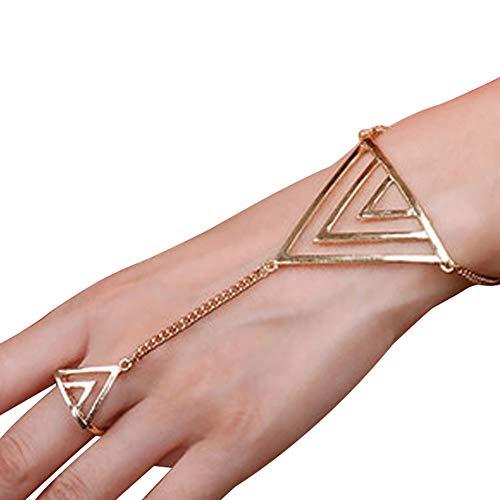 Man9Han1Qxi Damenmode Dreieck Charm Sklave Ring Kettengeschirr Armband Punk Schmuck Dame Armband für Herren und Damen Damen Golden