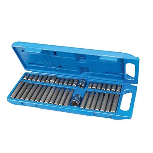 Vosarea 40 in 1 Sechskant-Spline-Sternbit-Sockel-Set Power Drive Dr-Sockel-Treiberbit-Tool-Kit (Silber) - Spline Shank Drill Bit