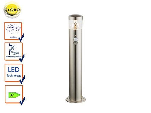 LED Stand Lampe Garten Weg Außen Beleuchtung Bewegungssensor Edelstahl Steh Leuchte Globo 34207S (Stand Lampenschirm)