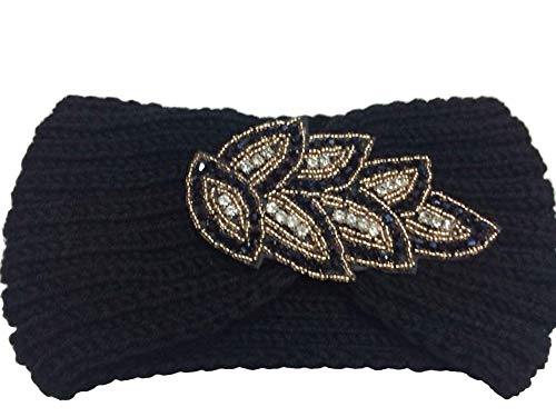 Solid Color Stirnband Ohr Mode Weiche Strick Festlich Bekleidung Frauen Damen (Color : Schwarz, Size : One Size) ()