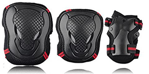 GR Sports Protective Gear Safety Pads, Safeguard Knee Elbow Wrist Support Pad Set Equipment For Adults Boys & Grils Roller Skate Bicycle Skateboard Extreme Sports Protector Guards Pads ( Color : BLACK/RED , Size : M