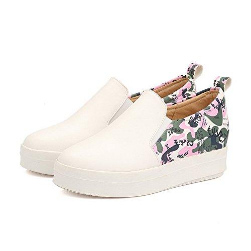 VogueZone009 Femme Tire à Talon Bas Pu Cuir Couleurs Mélangées Rond Chaussures Légeres Blanc