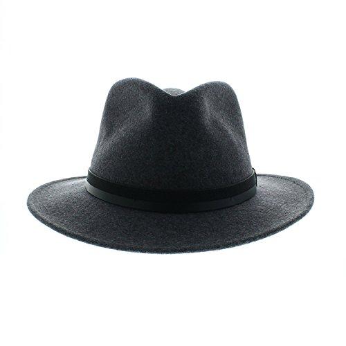 Votrechapeau - Feutre de Laine - Chapeau Fedora Pliable - Come - Gris - Tour de tête 60