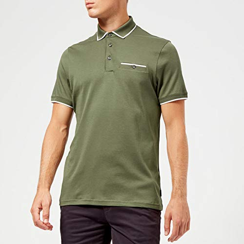 Ted Baker Polohemd Gelee Herren Khaki Designer Top - Khaki, EU 32 (Ted Baker Männer T-shirts Für)