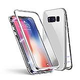 Samsung Galaxy S7 Edge Hülle, Jonwelsy Metallrahmen Magnetische Adsorption Handyhülle mit eingebautem Magnetklappdeckel, Ultra Dünn Gehärtetes Glas Transparente Back Cover für Samsung Galaxy S7 Edge
