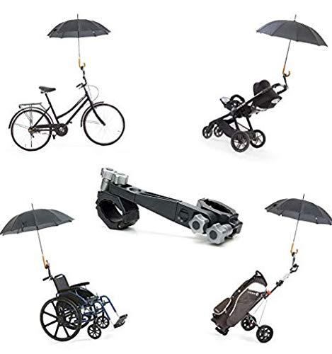Porta Paraguas Universal y desmontable de Jicaclick | Sujeta paraguas universal para carro de bebé, silla de ruedas, carrito de golf, bicicleta, carros de la compra, tripode fotografo o silla de playa