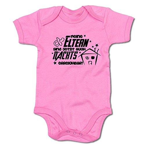 Meine Eltern sind jetzt auch nachts erreichbar! Baby Body Suit Strampler (250.0218) (3-6 Monate, pink)