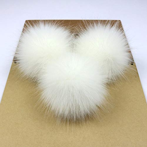 Noradtjcca Niedlichen fuchspelz Pompon abnehmbare Fell Flauschigen bommel Ball mit Druckknopf für DIY hüte caps Taschen Kleidung Schuhe dekor