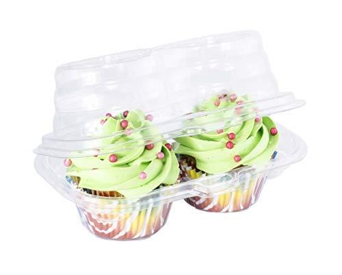 katgely 2fach Cupcake Behälter-Tief Cupcake Carrier Halter Box-BPA frei-Klar Kunststoff stapelbar-50Stück